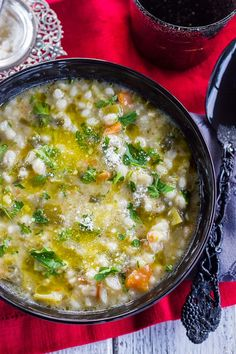 Authentic Italian Pearl Barley and Vegetable Minestrone is as tasty as it is nourishing! #minestrones #barleysoups