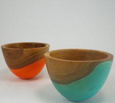 Orange and Blue Carnival Wood Bowls.
