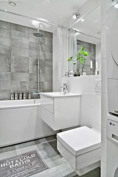 The combination white and grey Bathroom Shop, Laundry Room Bathroom, Bathroom Inspo, Bathroom Inspiration, Small Bathroom, Laundry Organization, Home Interior Design, Interior Decorating, Laundry Rooms