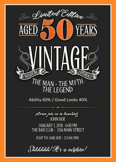 50th Birthday Invitation For Men JPEG Printable Aged To Themes Invitations