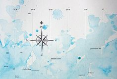 Nice typographic world map with watercolour