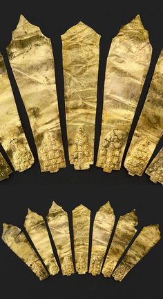 Indonesia ~ Java | Headdress elements; gold | Period: 650 - 1000, Early Classic Period