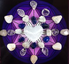 Connecting to the Moon Crystal Grid Selenite heart (center) - crystal closely tied to the Moon and its energies 6 Lapis Lazuli- stone of insight and royalty 6 Rainbow Moonstone- obviously moon related, increases intuition and connection to the Moon 6 Clear Quartz- provides clarity, and insight, amplifies the energy of the grid 4 White Opal- stone of purity and grace 4 Silver Topaz- closely related to the magic of the moon Do you love the moon??? If you do, then you'll LOVE this crystal grid!