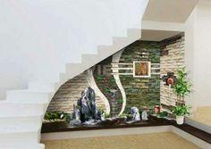 Staircase Wall Decor, Home Entrance Decor, Modern Staircase, House Entrance, Staircase Design, Pooja Room Door Design, Home Room Design, Inside Garden, Latest House Designs
