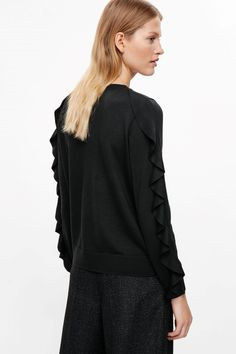 COS image 3 of Jumper with frill sleeves in Black