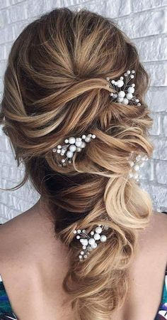 Bride hair pins Bridal hair piece Gypsophila Babys breath hair accessories Bridesmaid hair pin - All For Wedding Hair Style Bridal Hair Half Up With Veil, Half Up Wedding Hair, Bridal Hair Pins, Wedding Hair Pieces, Wedding Down Dos, Haircuts For Long Hair, Wedding Hairstyles For Long Hair, Bride Hairstyles, Homecoming Hairstyles