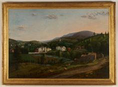 View of Great Barrington, Massachusetts  Itinerant painters traveled the countryside of New England and New York State recording the idyllic townscapes so often later lost to fire and natural disaster. This large canvas captures the town of Great Barrington in the 1830's set amidst the beauty of the Berkshires.