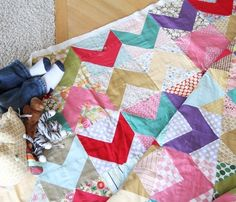 Bri, thought you might like this scrappy chevron quilt. quilting-ideas