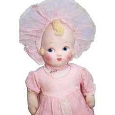 Madame Alexander vintage cloth baby all original in vintage pink from holichs-dolls on Ruby Lane