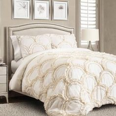 Lush Decor sells a variety of feminine comforter sets, such as the Avon 3 Piece Comforter Set online. To browse our selection, head over to our website today! King Size Comforter Sets, King Size Comforters, Bedding Sets, Avon, Lush, Feminine Bedroom, White Chic, Bed Sets, Boutique