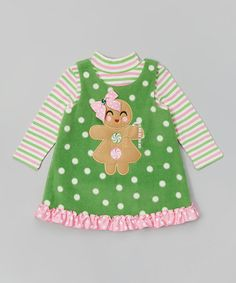 Another great find on #zulily! Green Gingerbread Layered Dress - Infant, Toddler & Girls #zulilyfinds