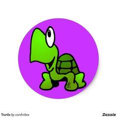 Turtle Classic Round Sticker #turtle #sticker #Zazzle #Cardvibes #Tekenaartje #SOLD