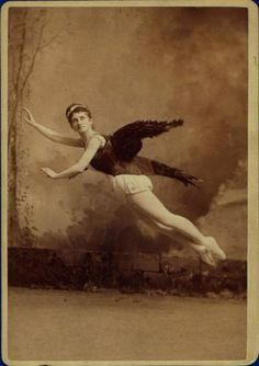 c. 1860-1910, [portrait of Helene Levy in winged costume, posed mid-flight]