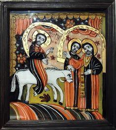 Floriile - Intrarea în Ierusalim, icoană pe sticlă, 38x43 cm pictată de Mihai Macri