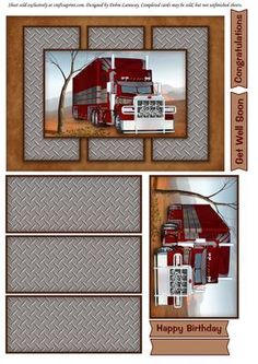 Quick card with a big red truck as the main image. Has just a couple layers for dimension, but still fits a standard envelope. Sentiment tags are Happy Birthday, Congratulations, Get Well Soon, and a blank tag. 3d Cards, Easel Cards, Masculine Birthday Cards, Masculine Cards, Birthday Congratulations, 3d Sheets, Big Rig Trucks, Digital Scrapbook Paper, Small Cards