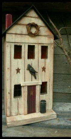 Hey, I found this really awesome Etsy listing at https://www.etsy.com/listing/242971143/primitive-birdhouse-primitive-farmhouse