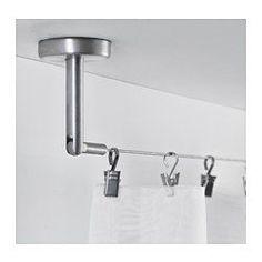 IKEA - DIGNITET, Stålwire, Komplet sæt med beslag og gardinwire. Klar til væg- eller loftmontering.Vinklen på beslagene kan indstilles, så de er fleksible at bruge.Kan nemt afkortes til den ønskede længde.