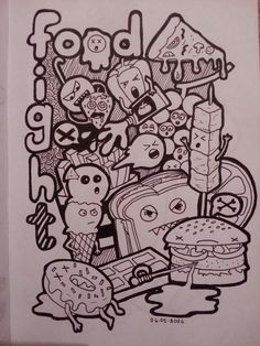 Doodle black and white food fight