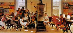 """Visits a Country School"", 1946.  Norman Rockwell (1894-1978) American painter and illustrator. #rol_mestre #aula"