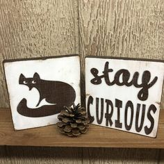 Stay Curious  Woodland inspired wood accent block/tile duo