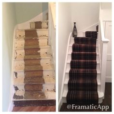 Before and after, tartan stair runner, all white paint work
