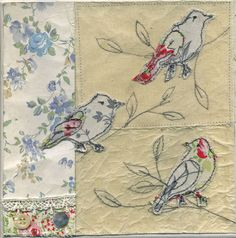 3 birds machine embroidered wall art canvas - Diane Taylor would change the applique process and use hand embroidery Free Motion Embroidery, Free Machine Embroidery, Free Motion Quilting, Quilting Tips, Thread Art, Thread Painting, Bird Applique, Embroidery Applique, Fabric Birds