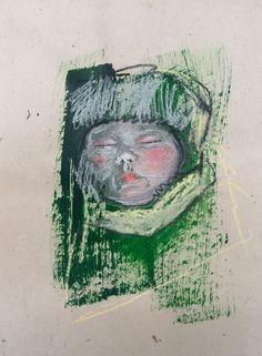 Zosia Noga, Winter baby 2, acrylics, pastel pencils and charcoal on Khadi Lokta and Mitsumata paper, 2015.