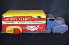 "RARE MARX 1950s HI WAY EXPRESS CROSS COUNTRY SERVICE Moving Van 16"" Long Model mover Truck"