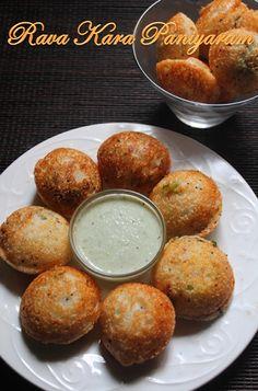 YUMMY TUMMY: Rava Kara Kuzhi Paniyaram Recipe / Sooji Paniyaram Recipe