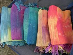 Hand woven cotton shawls. I hand painted the warp before weaving it, to get the lovely color changes.