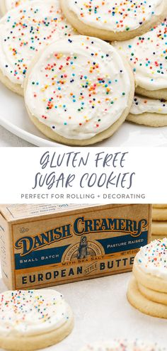 These gluten free sugar cookies are the perfect sweet and simple cookie! Great for traditional or cut out cookies this recipe makes buttery soft and tender cookies youll love frosting for the holidays or snacking on anytime! Gluten Free Christmas Cookies, Gluten Free Sugar Cookies, Gluten Free Cookie Recipes, Gluten Free Sweets, Sugar Cookies Recipe, Free Recipes, Gluten Free Deserts Easy, Gluten Free Gingerbread Cookies, Gluten Free Cookie Dough