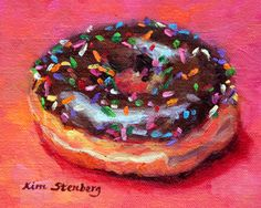 """Donut Painting, Food Still Life, Original Oil Painting, OOAK, 4 x 5"""", """"Sprinkled"""" by Kim Stenberg, Rich Impressionistic Art"""