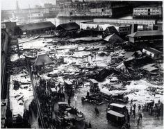 The Boston Molasses Flood of 1919. A huge molasses storage tank ('cause those exist) stationed in the North End of Boston burst, flooding the streets at a surprisingly rapid rate of about 35 mph, killing 21 people and injuring another 150.