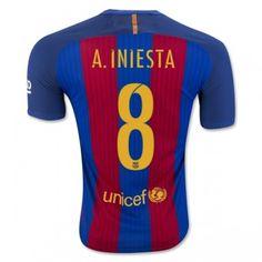 Barcelona 16-17 Andres Iniesta 8 Hemmatröja Kortärmad  #Fotbollströjor