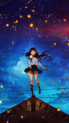 Girl Anime Star Space Night Illustration Art Flare #iPhone #6 #wallpaper