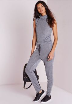 COMBINAISON GRISE CôTELéE COL ROULé #style #fashion #trend #onlineshop #shoptagr