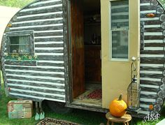 Log cabin trailer-I want to do this to our old camper!!