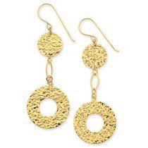 14K Fancy Circle Drop Dangle Earrings dangl earring, fanci circl, dangle earrings, circl drop