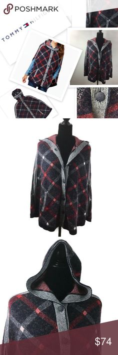 🆕 Hooded Plaid Print Poncho by a Tommy Hilfiger Beautiful Red, White & Blue Hooded Poncho w/ pockets by Tommy Hilfiger. Size: XS Material: 34% Acrylic, 26% Cotton, 15% Nylon, 13% Wool, 9% Polyester, 2% Mohair & 1% Elastine Tommy Hilfiger Jackets & Coats