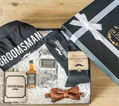 """Men love gifts too. 😵 Our signature """"Groomsman"""" gift box is a gift he'll actually be excited about. Groomsmen Gift Box, Groomsman Gifts, New Product, Product Launch, Curated Gift Boxes, Man In Love, Love Gifts, Customized Gifts, Weddings"""