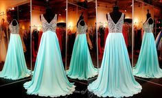 Elegant beaded V-neck aqua flowing skirt prom dress at Rsvp Prom and Pageant, Atlanta, Georgia. Iridescent Jewels cover the deep V-neckline Bodice with Illusion straps of this stunning evening gown shown in aqua. From the waist down, the A-line skirt has layers of flowing shimmering fabric which finish the elegant look. Buy it HERE at http://rsvppromandpageant.net/collections/long-gowns/products/aqua-flowing-elegant-prom-dress-115ec0151630412