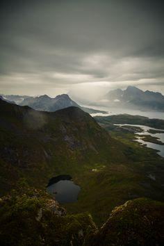 Hiking Svolvaer, Lofoten islands, Norway.