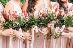 Robin & Tom | Weddings in Tampa Bay | Red and Pink Astilbe bouquet. #andrealaynefloraldesign  #tampaweddings