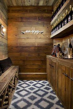 Wine Cellar With Neon Light and Ceramic Tiles // Designer Crush: Alison Davin