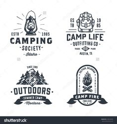 Set of Retro Camping Outdoor Badges, Old School Logos, Vintage Emblems and Design Elements. Hand drawn Vector Illustration of Backpack, Lantern, Campfire, Compass, Forest, Mountains, Firewood.
