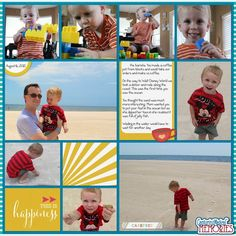 Scrapbook Page Layout : Gulf of Mexico Beach using Pocket Style