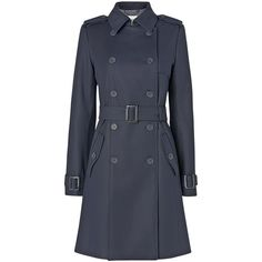 L.K. Bennett Duran Cotton Trench Coat, Dark Navy (€225) ❤ liked on Polyvore featuring outerwear, coats, jackets, outerware, cotton trench coat, trench coat, long sleeve coat, cinch coats and summer coat
