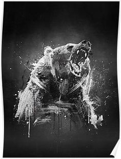 Wild Illustration poster prints by Emiliano Morciano Bear Paintings, Cool Paintings, Cool Artwork, Canvas Paintings, Wolf Sketch Tattoo, Bruder Tattoo, Tattoo Planets, American Traditional Rose, Grizzly Bear Tattoos