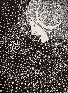 Lady Of The Night Illustration/ Poem by Don Blanding - 1935-This night I see a luminescent trail of powdered stardust, faint and pale, Across the sky like moths in flight. A crescent moon of phantom white, Is tangled in the filmy veil. My heart responds with quick delight, I greet The Lady of the Night.