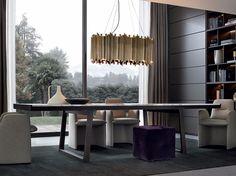 Extending rectangular marble living room table OPÉRA by Poliform design… Dining Table Design, Modern Dining Table, Dining Tables, Luxury Furniture, Furniture Design, Furniture Ideas, Space Furniture, Mesa Sofa, Esstisch Design